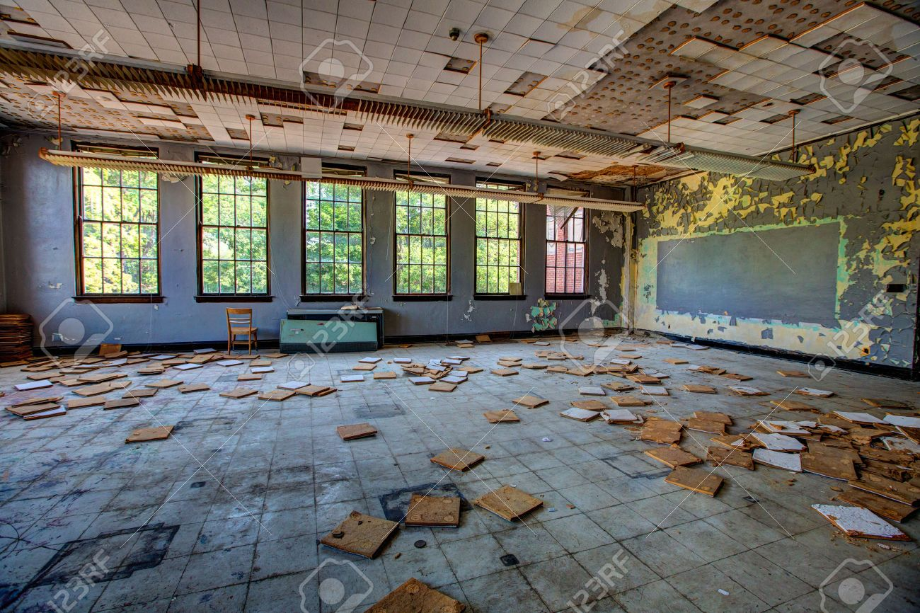 Dusty abandoned classroom with falling ceiling tiles and broken dusty abandoned classroom with falling ceiling tiles and broken chalk board stock photo 32909366 dailygadgetfo Images