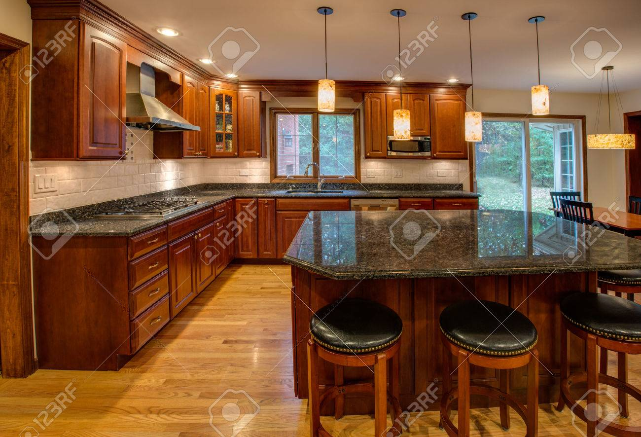 Kitchen With Granite Corner Newly Finished Kitchen With Granite Counter Top Hardwood