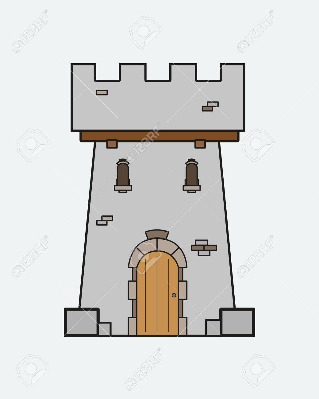 62926236 icon castle tower with a door and windows in the medieval style icon castle tower with a door and windows in the medieval style
