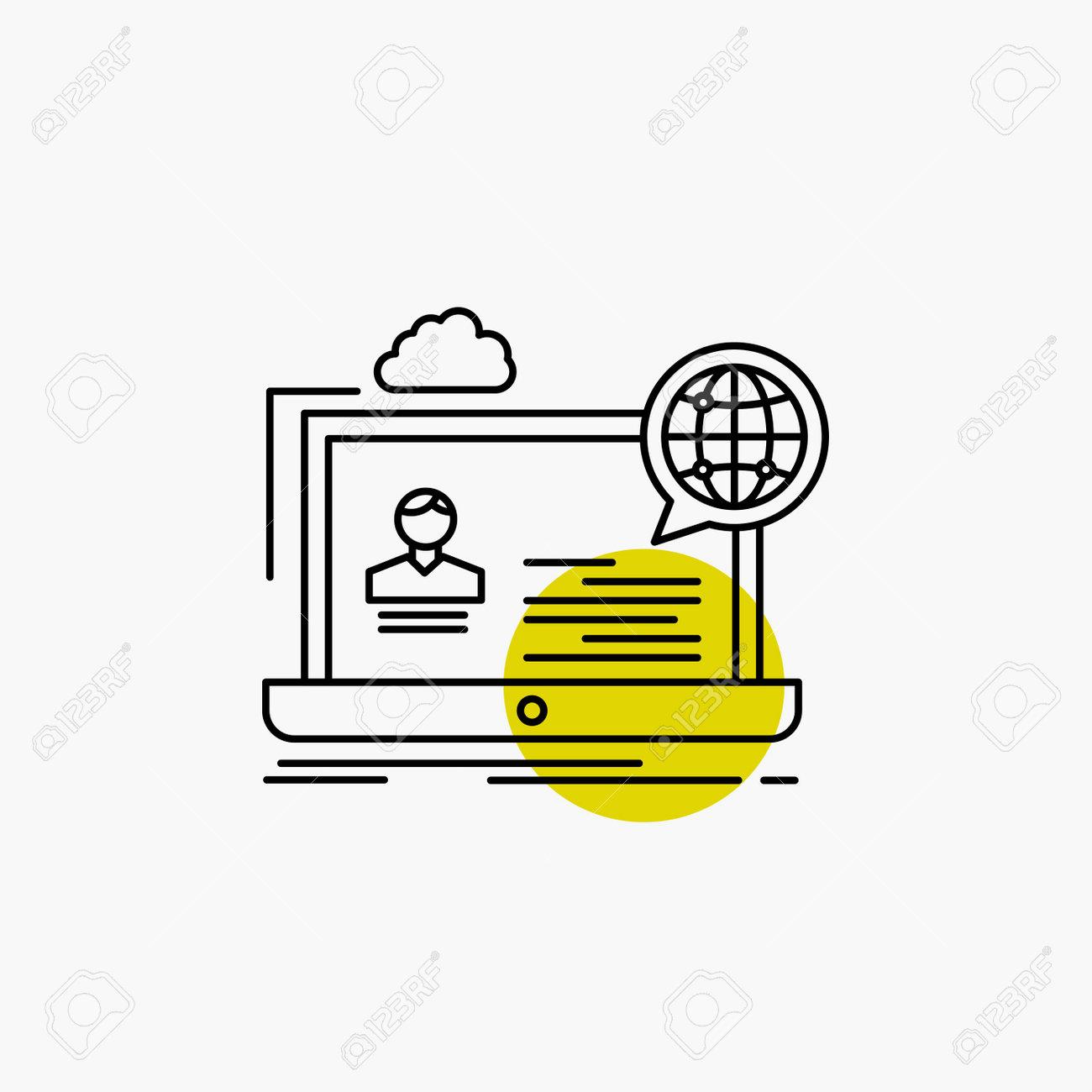 webinar, forum, online, seminar, website Line Icon - 162526652