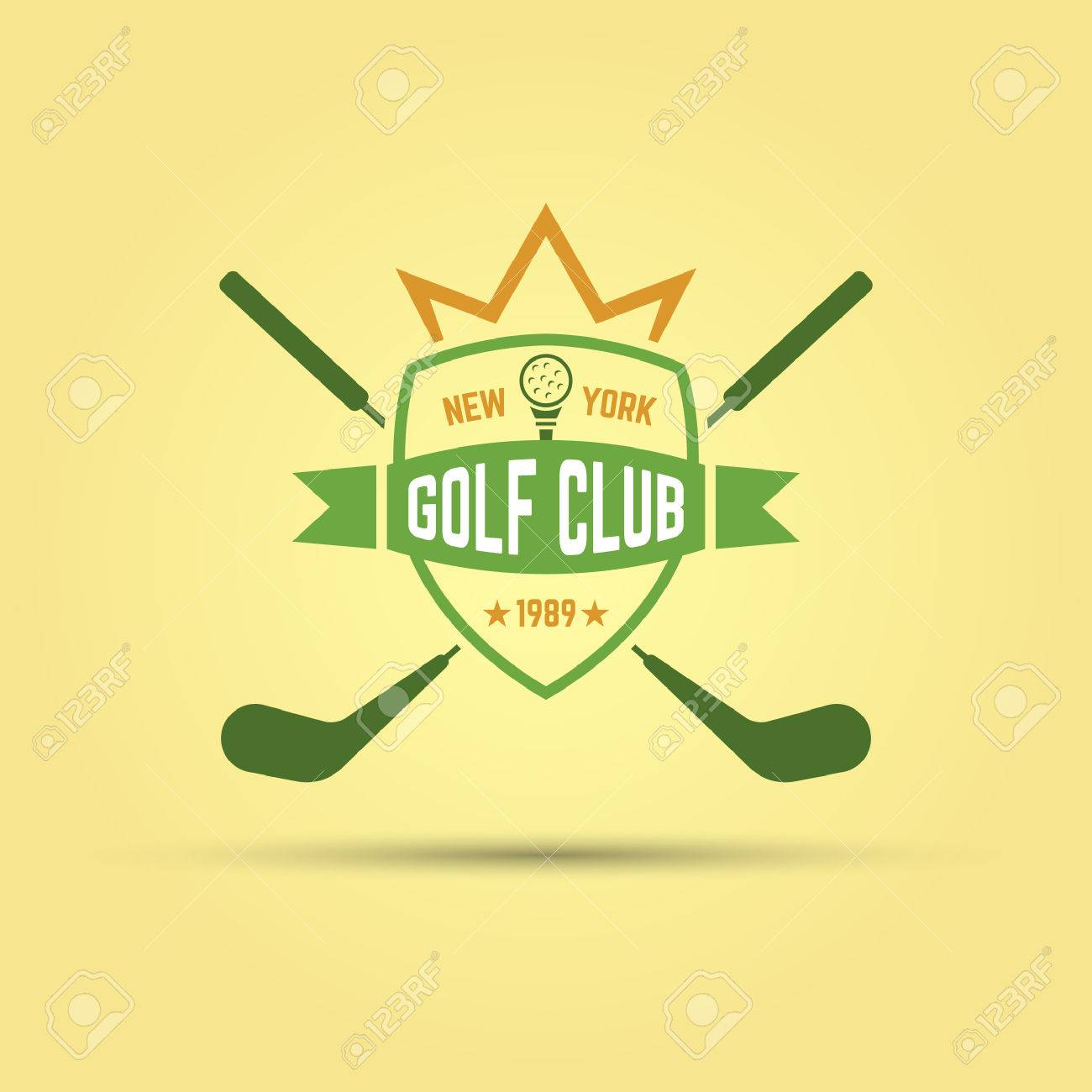 Golf Sport Club Shield With Ribbon And Crossed Sticks Isolated Vector Colored Badge Template Stock
