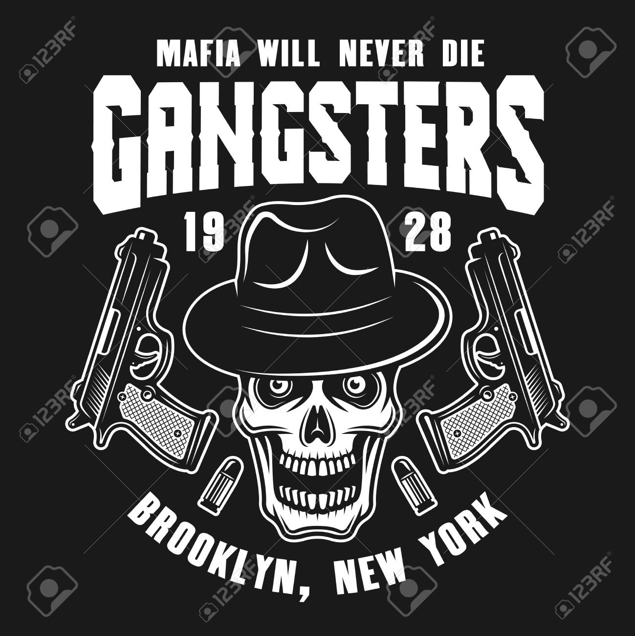 Mafia emblem or logo concept design with gangster skull in fedora hat and  two guns isolated ba8a7f524ce2