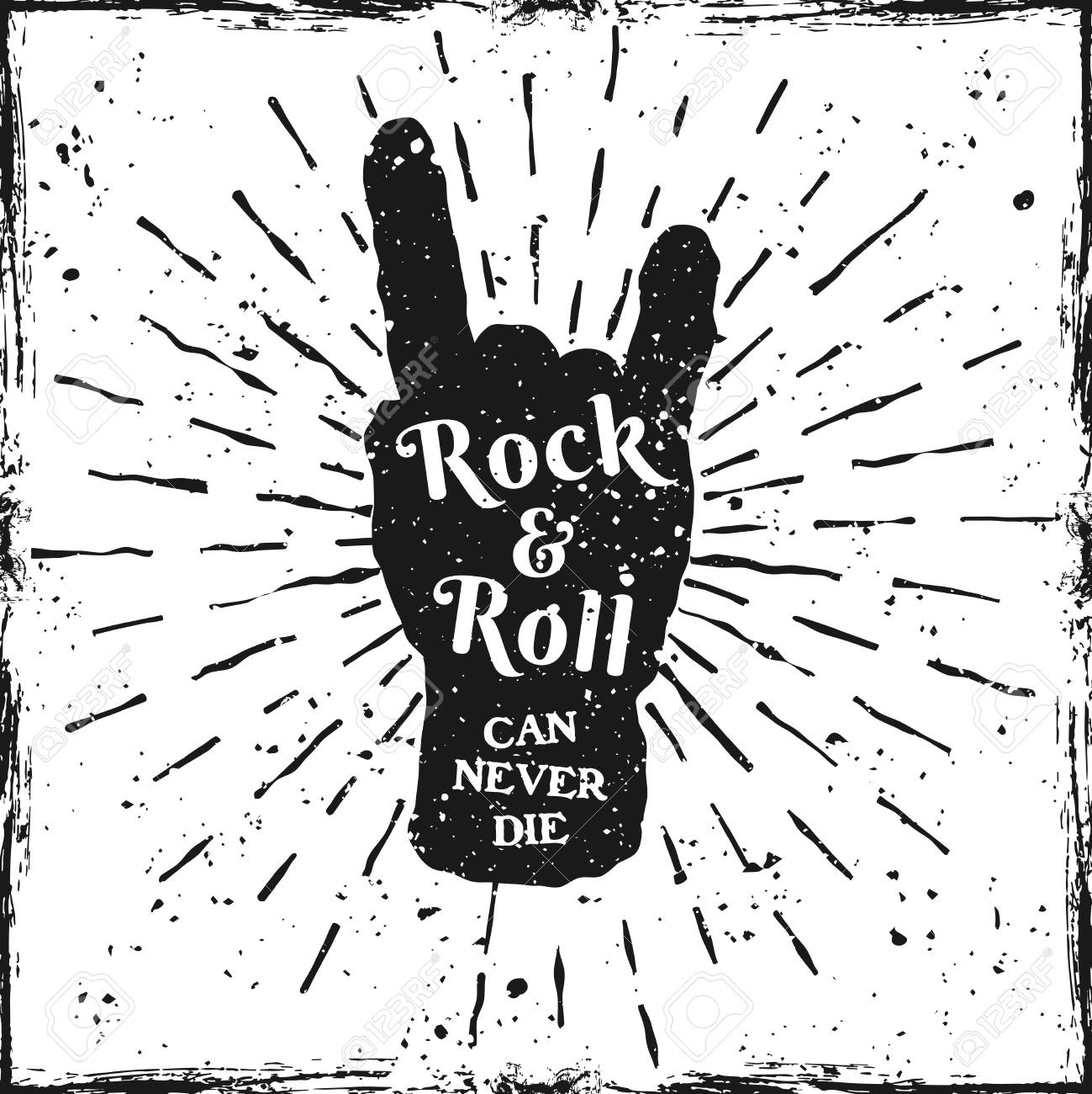 Rock Hand Gesture Of Horns Music Print Or Label With Quote Rock