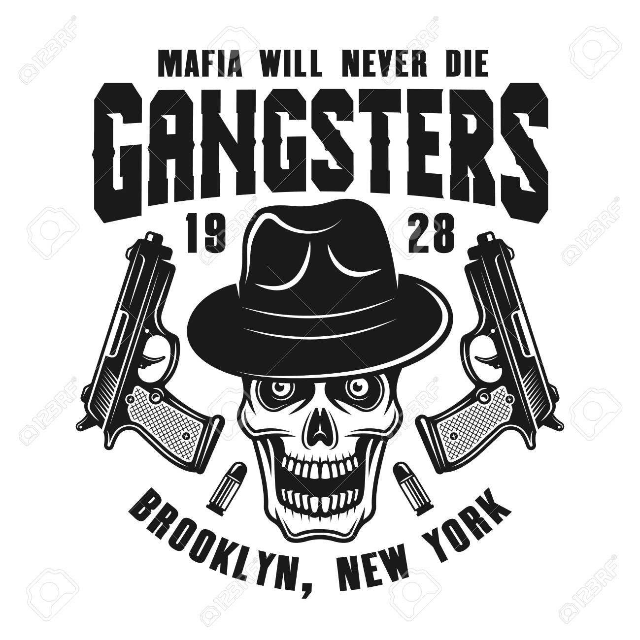Mafia Emblem Or Logo Concept Design With Gangster Skull In Fedora Hat And Two Guns Isolated