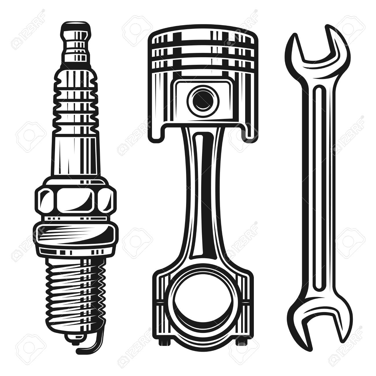 Car or motorcycle repair parts set of vector detailed objects and design elements in monochrome style isolated on white background - 99019438