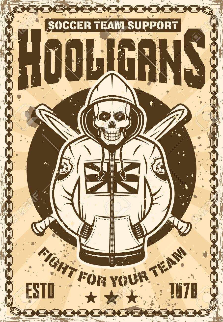 Football Hooligan Vintage Poster With Skull In Hoodie And Two Crossed Baseball Bats Vector Illustration