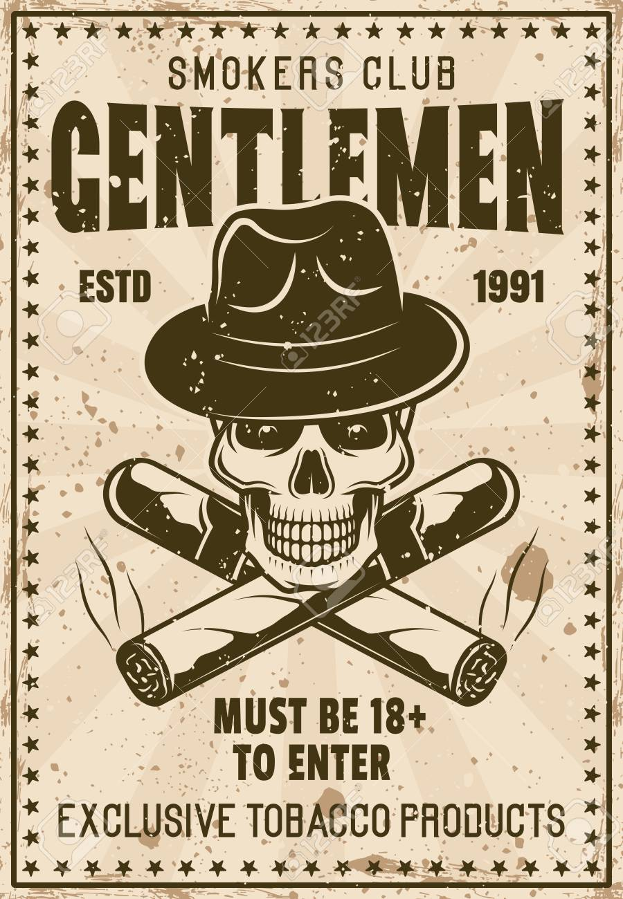 85a6c874d10bd Smokers gentlemen club vintage poster template with skull in gangster hat