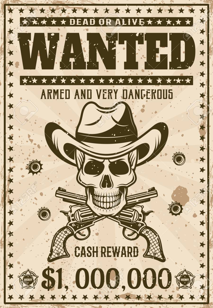 Wanted Vintage Western Poster Template With Cowboy Skull In Hat