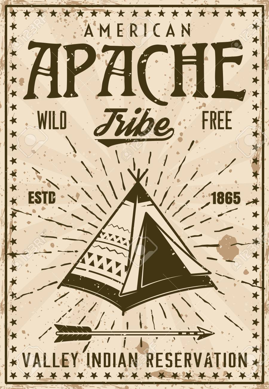 apache indian tribe reservation vintage poster template vector
