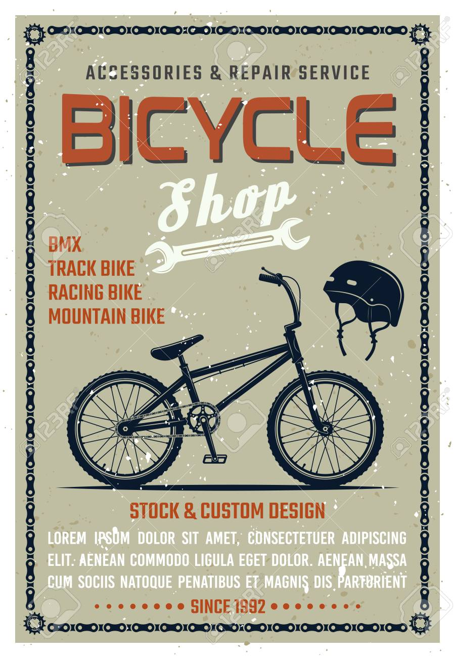 bicycle shop vector poster in retro style with grunge textures