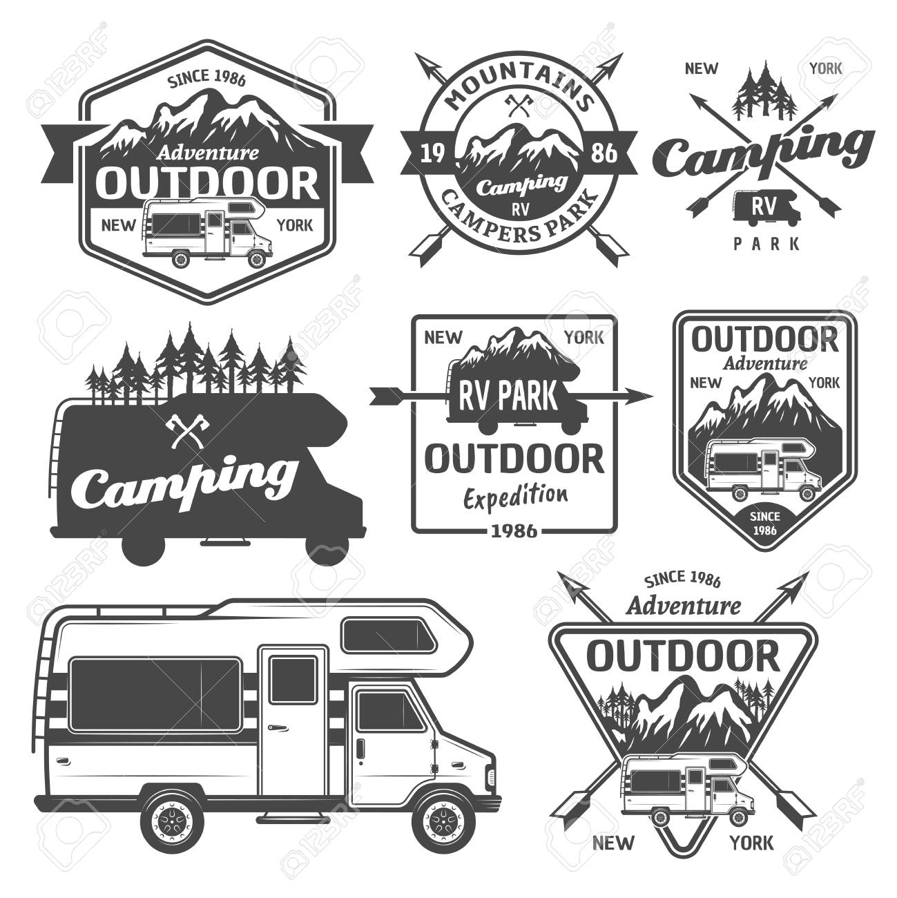 Set of rv camping, outdoor recreation with mountains and camper van vector monochrome labels, emblems, badges and design elements isolated on white background - 103007218