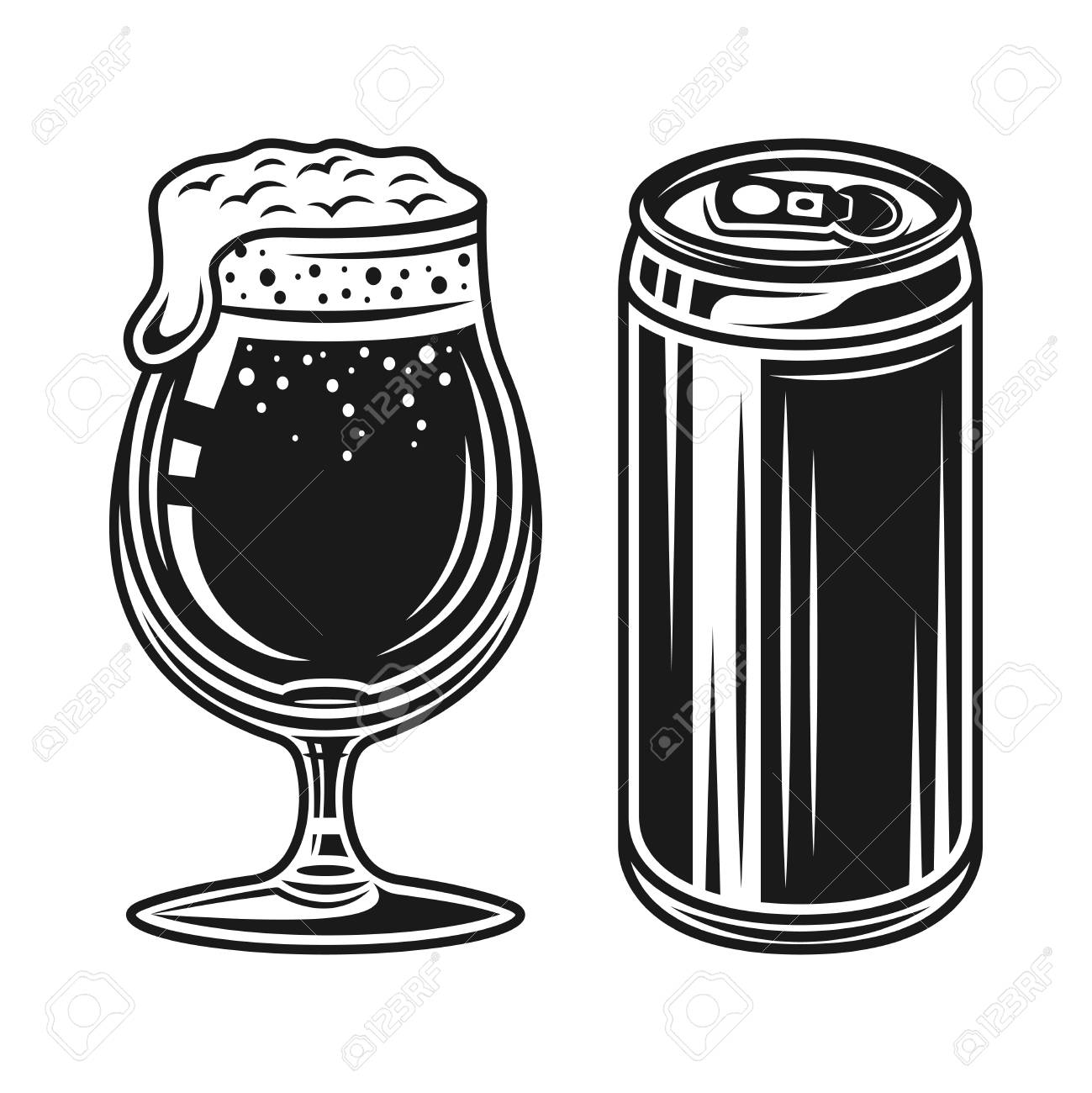 beer can and tulip glass with foam vector elements isolated on rh 123rf com beer can vector free Beer Can Clip Art