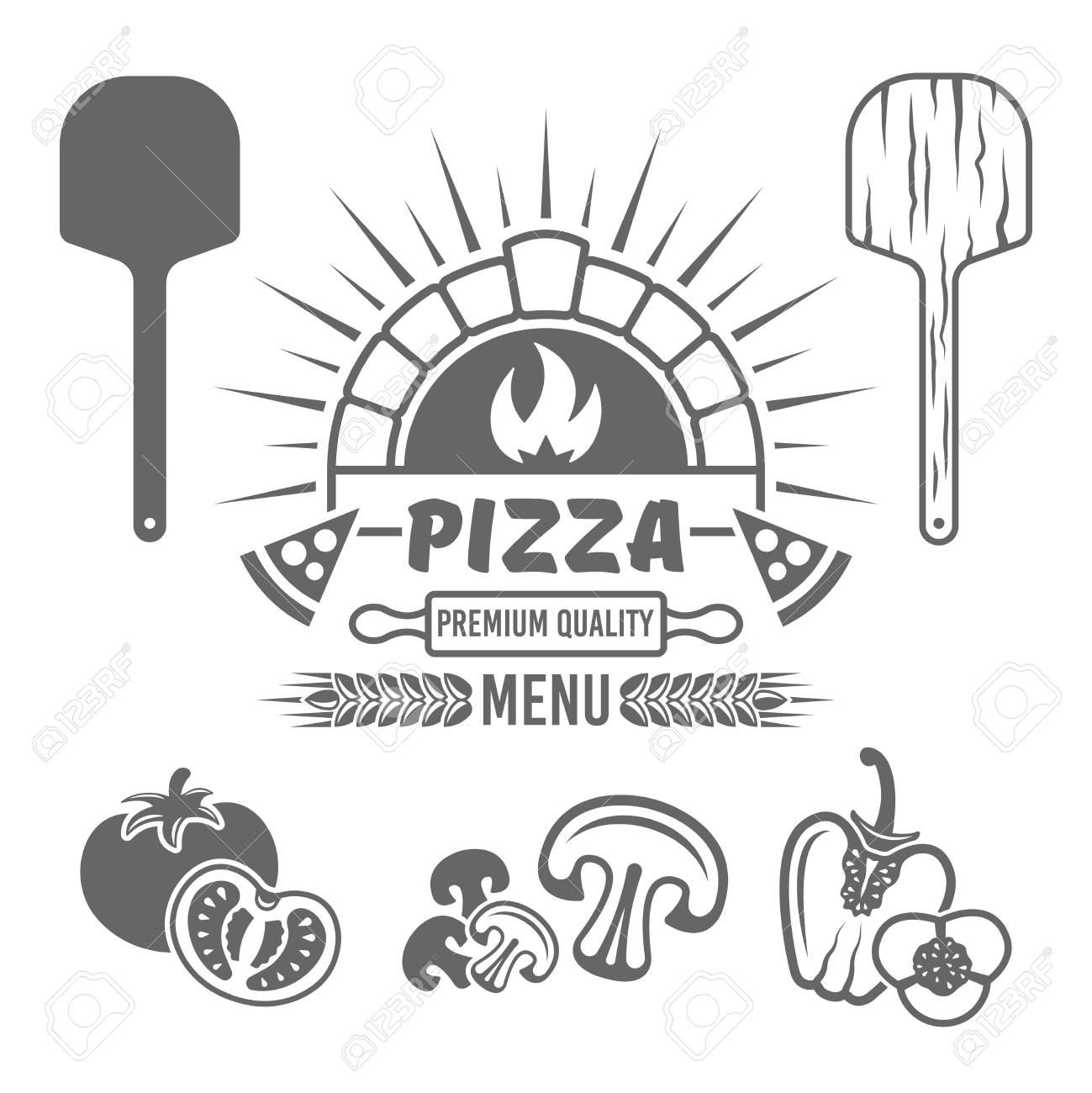 Brick oven and pizza vector monochrome emblem or label for pizzeria menu, and design elements tomato, mushrooms, bell pepper, wooden shovel isolated on white background - 105622195