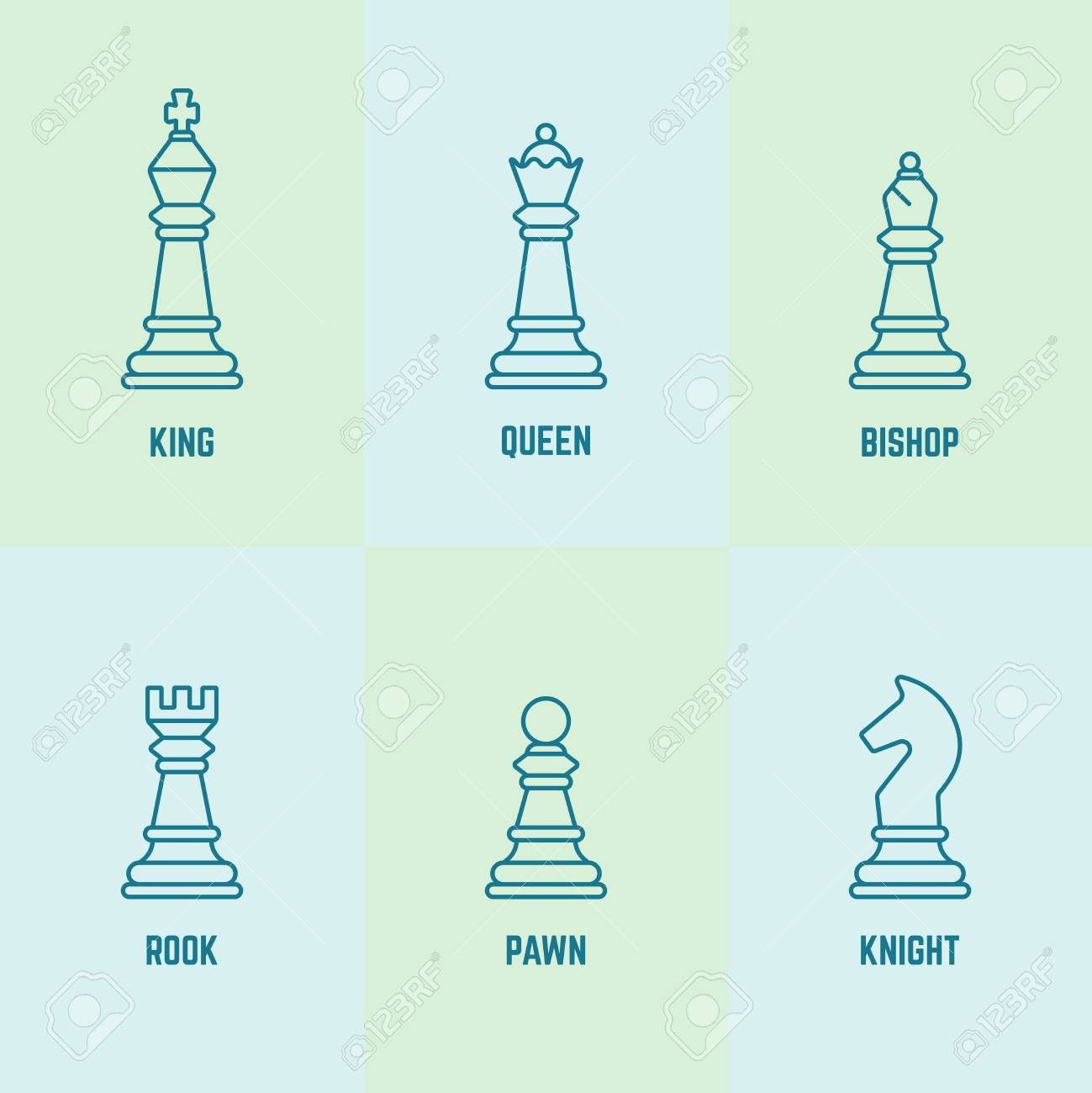 Chess pieces with named vector outline icons king, queen, bishop,