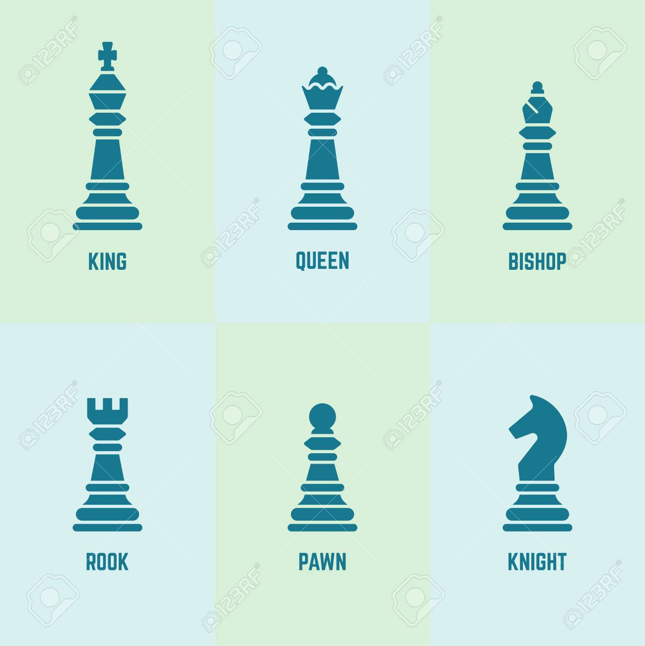 Chess Pieces With Named Vector Silhouette Icons King Queen
