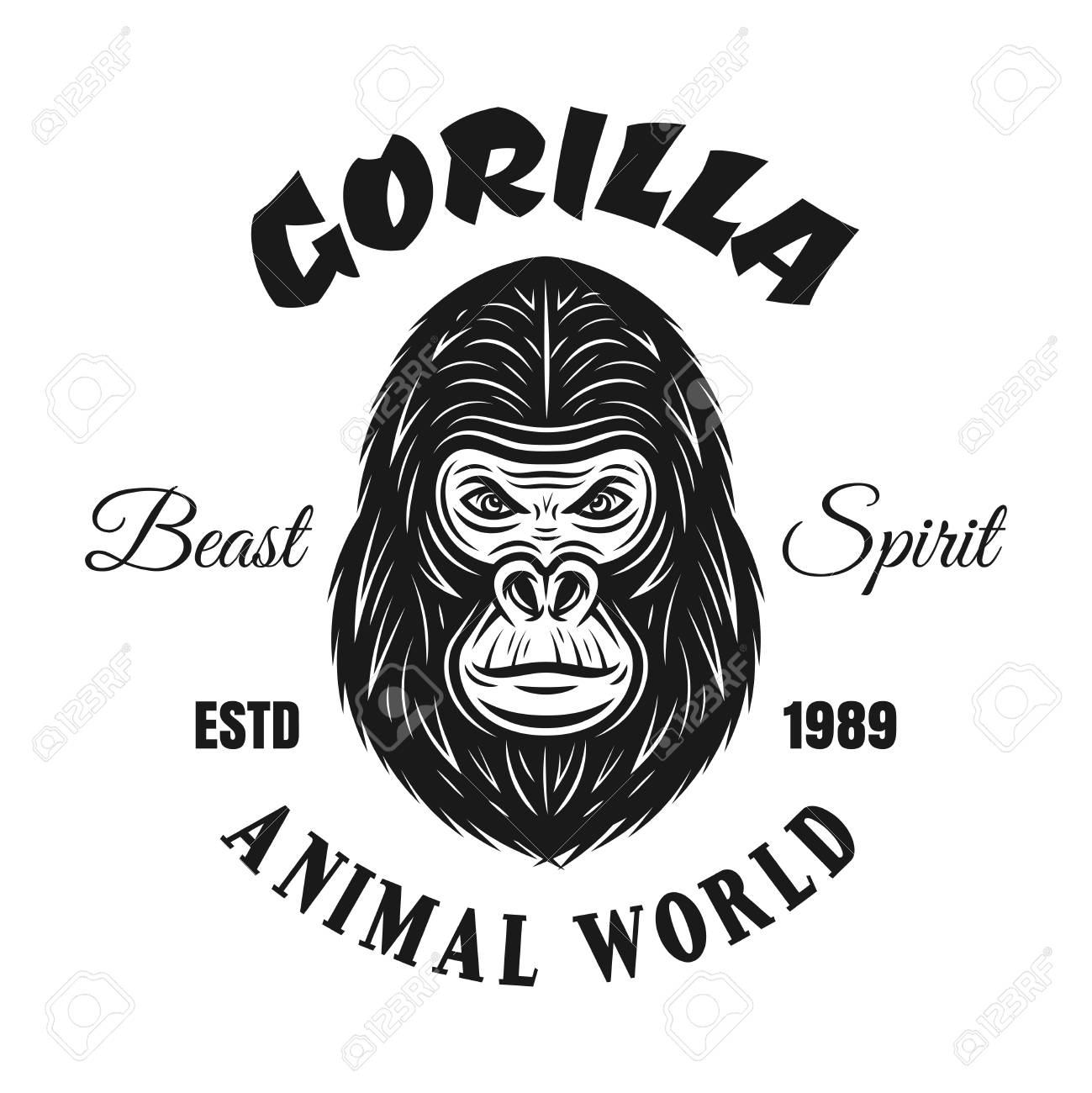 af0bce2d7 Gorilla vector emblem or t shirt print in vintage monochrome style isolated  on white background Stock