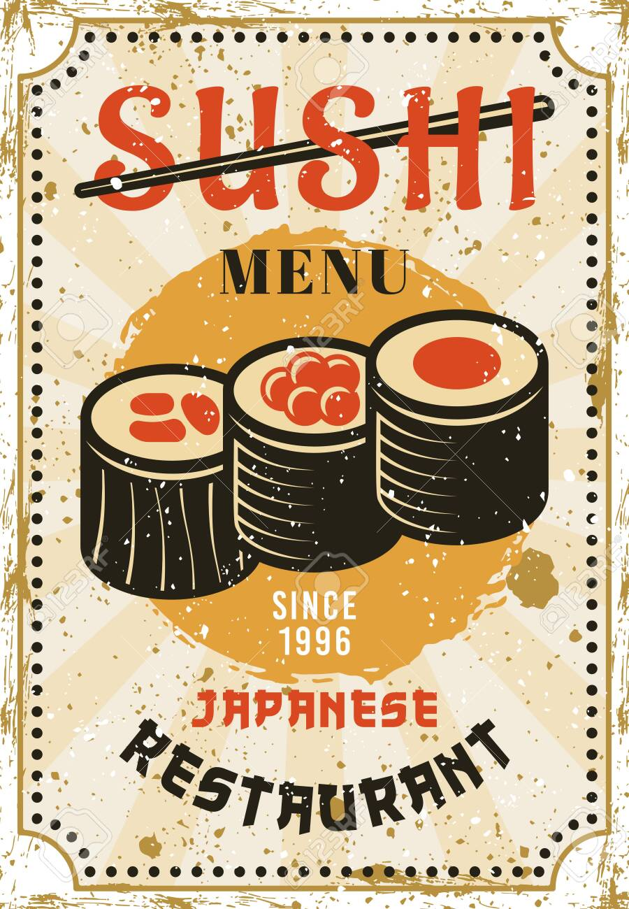 Sushi Menu Restaurant Of Japanese Cuisine Colored Bright Advertising Royalty Free Cliparts Vectors And Stock Illustration Image 125475651