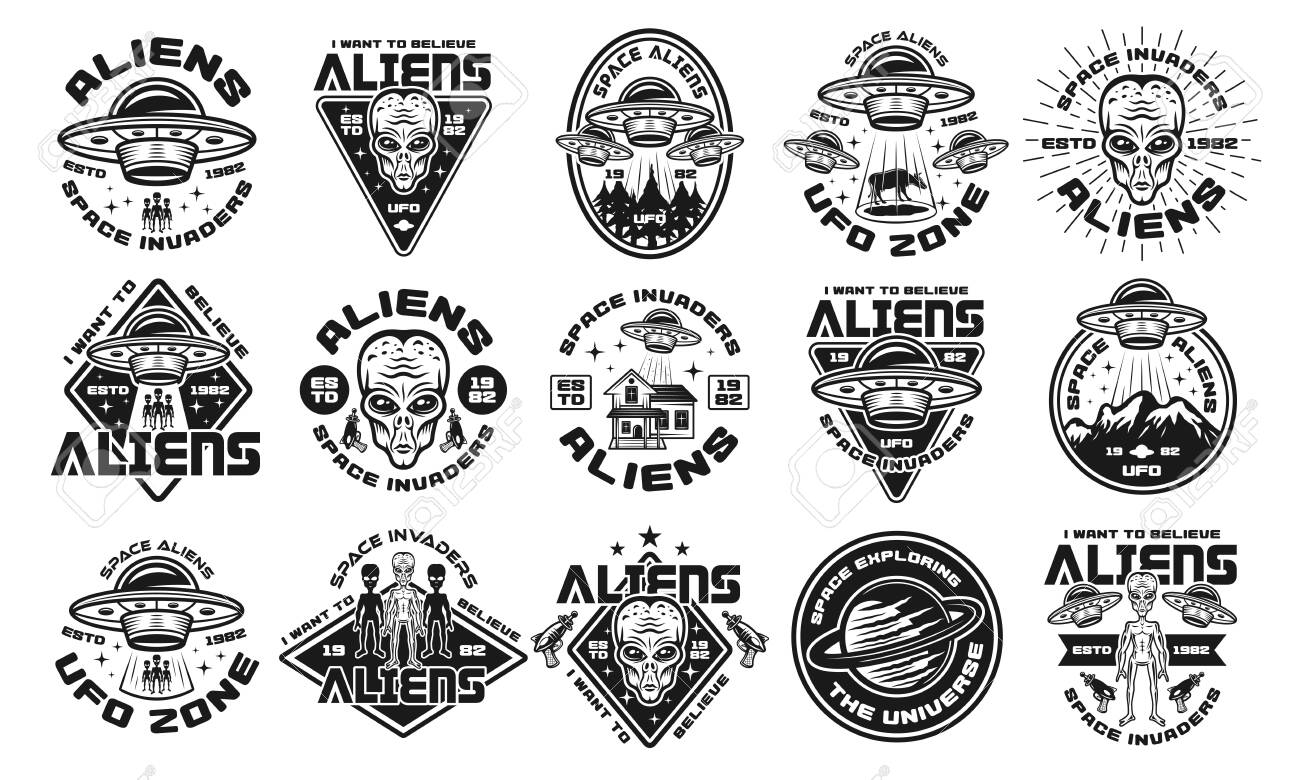 Aliens and ufo set of fifteen vector emblems, labels, badges or logos in vintage monochrome style isolated on white background - 130528856