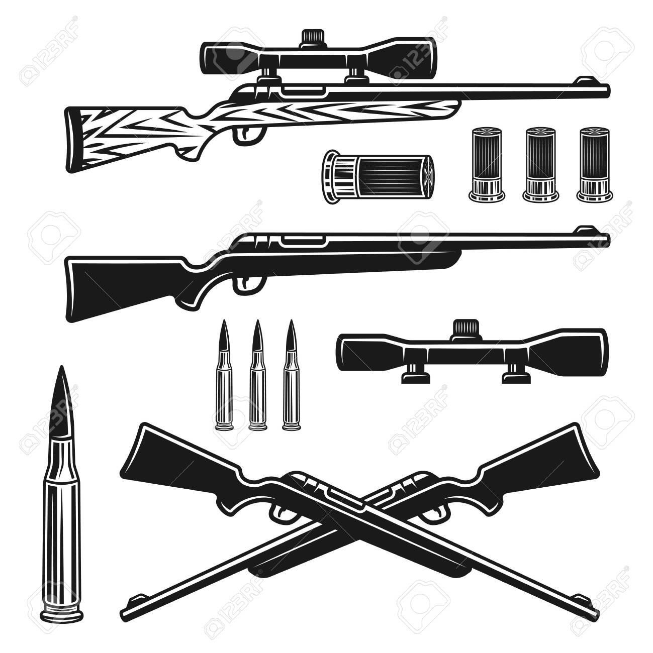 Hunting weapons set of vector objects or design elements in monochrome vintage style isolated on white background - 145120844