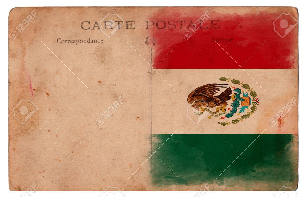 Old Vintage Postcard Mexico Stock Photo