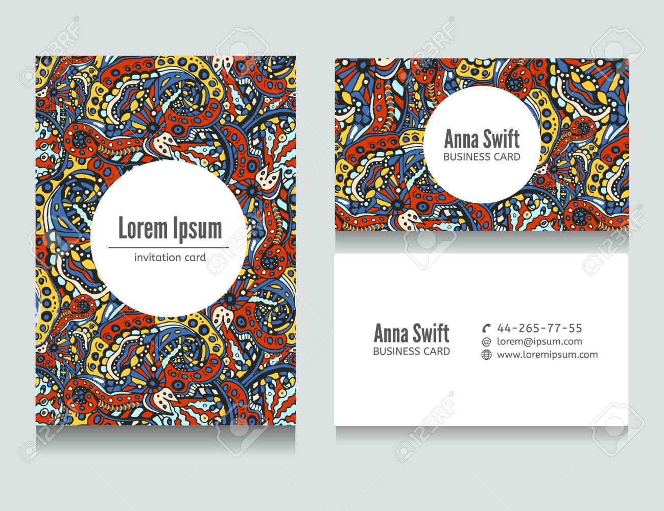 Set Of Flora Colored Abstract Business Cards Design Card Template Background Pattern Vector