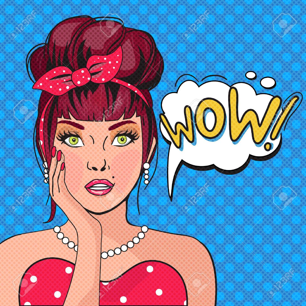 WOW bubble pop art.Surprised Woman With Open Mouth. Vintage comic poster with a girl. Pop Art illustration of a woman with the speech bubble. Party invitation. Birthday greeting card - 53055620