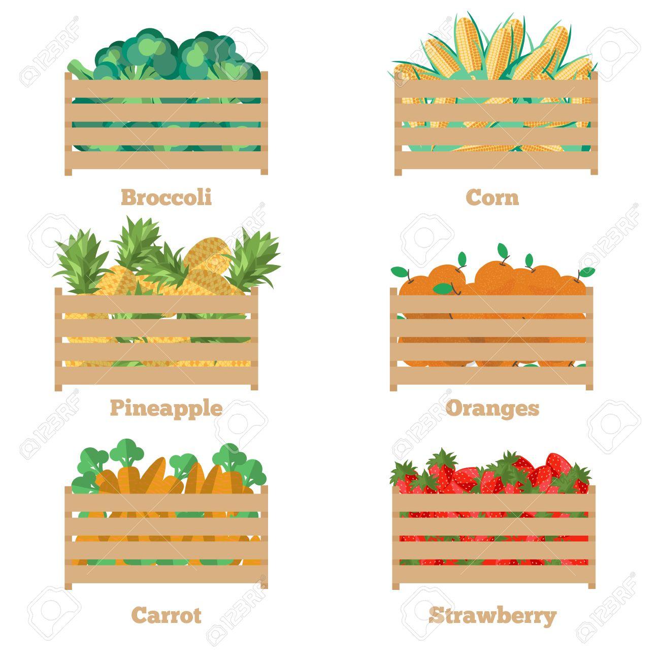 Holzkiste Mit Obst Und Gemüse. Vektor-Illustration Der Ernte ...