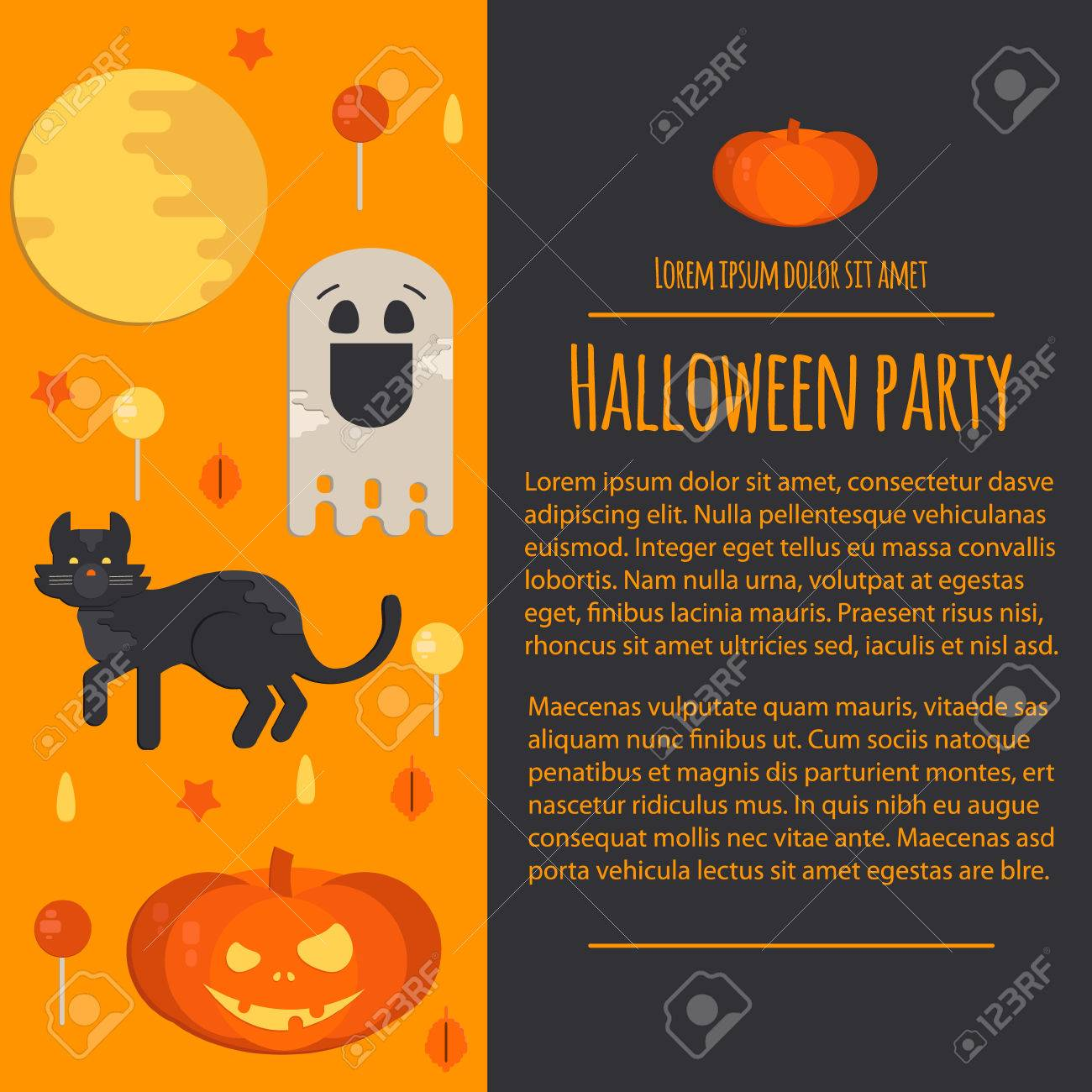 Halloween Concept Letterhead Template In Flat Style. Vector Business ...