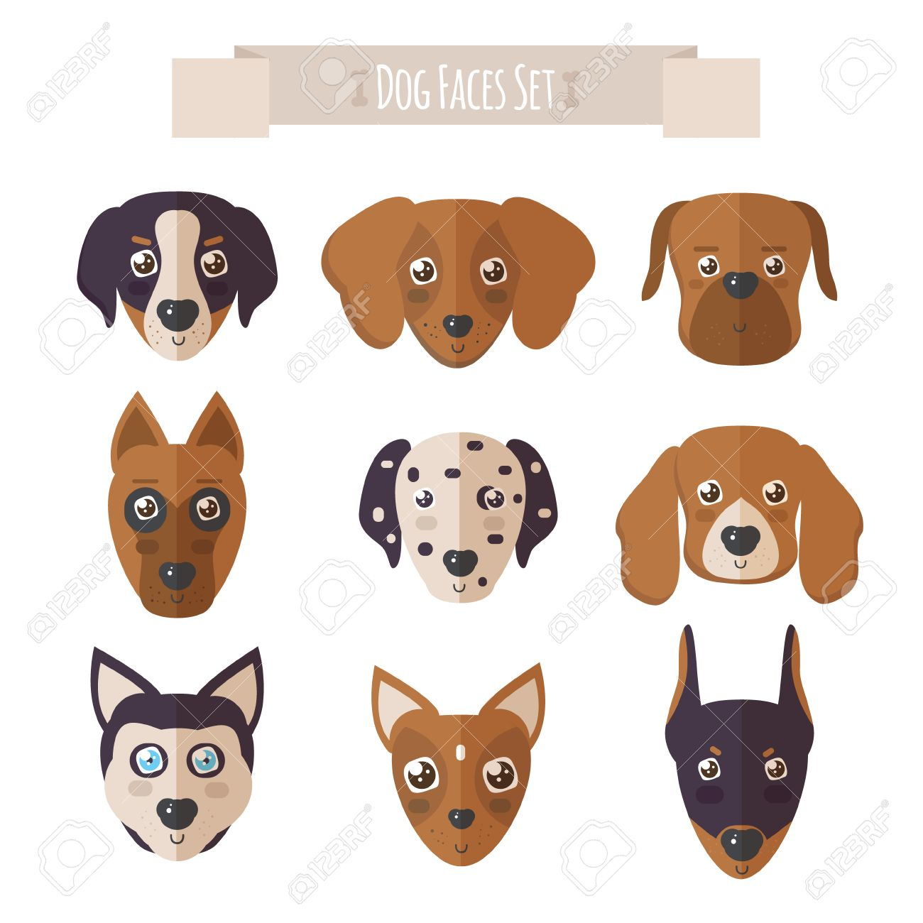 dog faces set in flat style set of dogs vectors and icons vector rh 123rf com dog vector silhouette dog vector art free