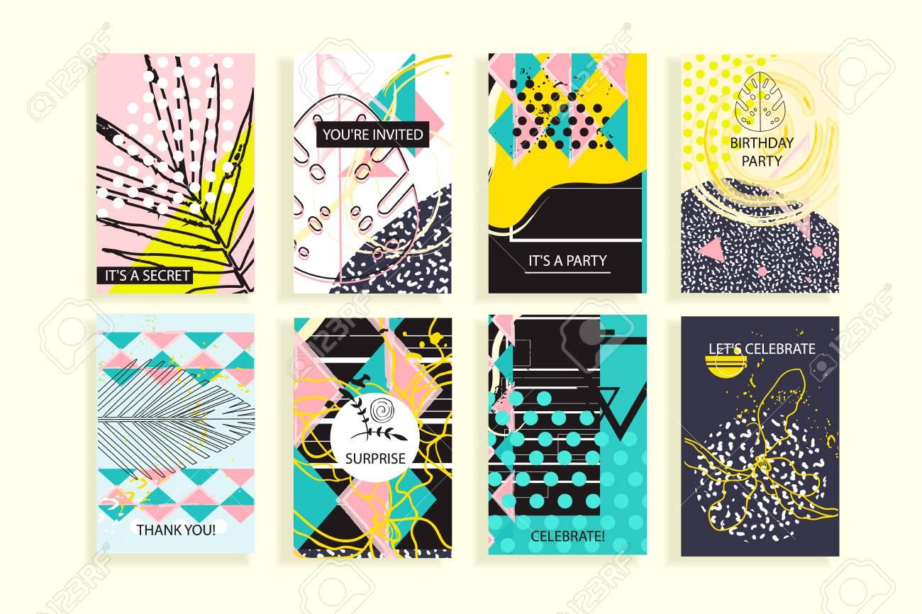 Universal Floral Poster Set Kreative Hand Gezeichnete Texturen Mit
