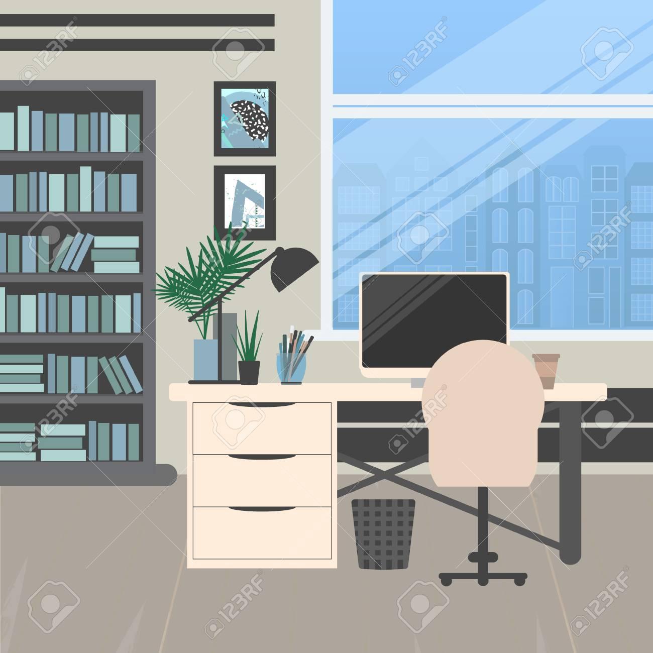 design de bureau moderne. lieu de travail avec grande fenêtre