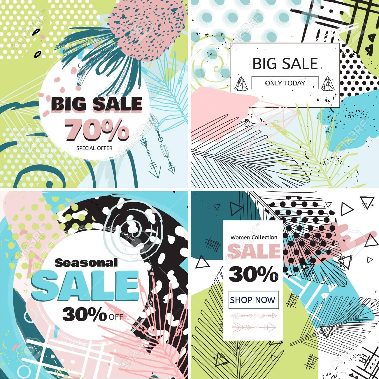 9473c3907 Venta de moda y tarjeta de concepto de oferta especial para compras en  línea. Conjunto de banners de ventas de medios sociales. Fondo geométrico  con ...