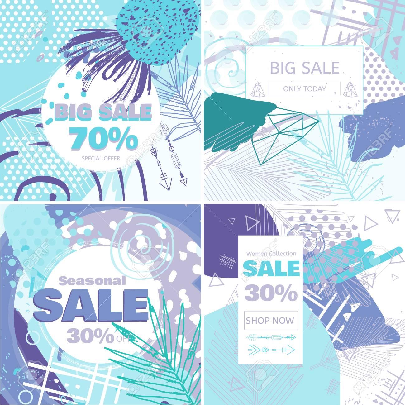 e9306ee3d Venta de moda y tarjeta de concepto de oferta especial para compras en  línea. Estilo de invierno banners de ventas de medios sociales  establecidos. ...