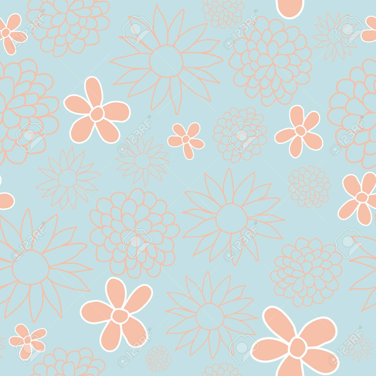 Blue And Peach Floral Seamless Pattern Design Perfect For Fabric
