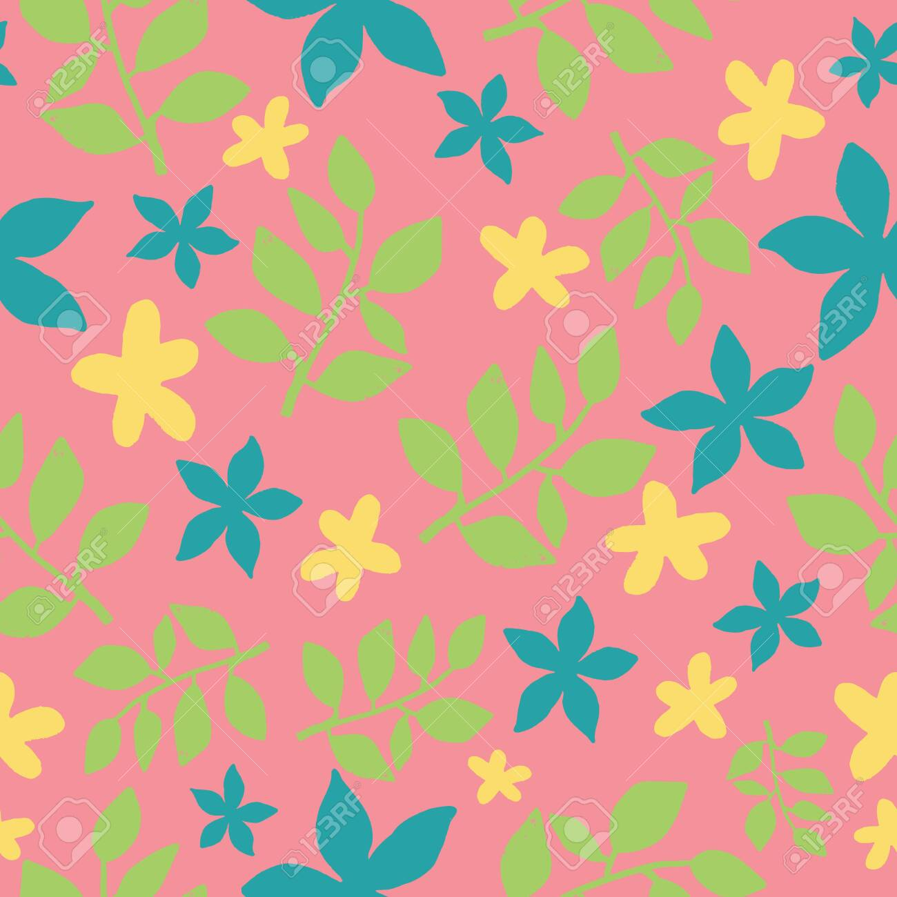 Seamless Tropical Leaves Repeat Pattern Design On Pink Background Stock Photo Picture And Royalty Free Image Image 133893743