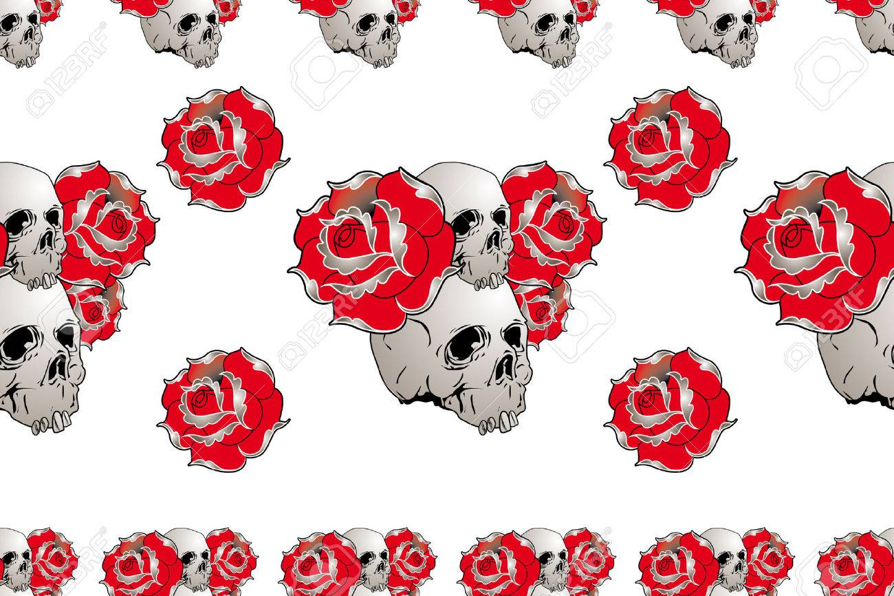 seamless skull and rose pattern for t-shirt fabric Stock Vector - 9050477
