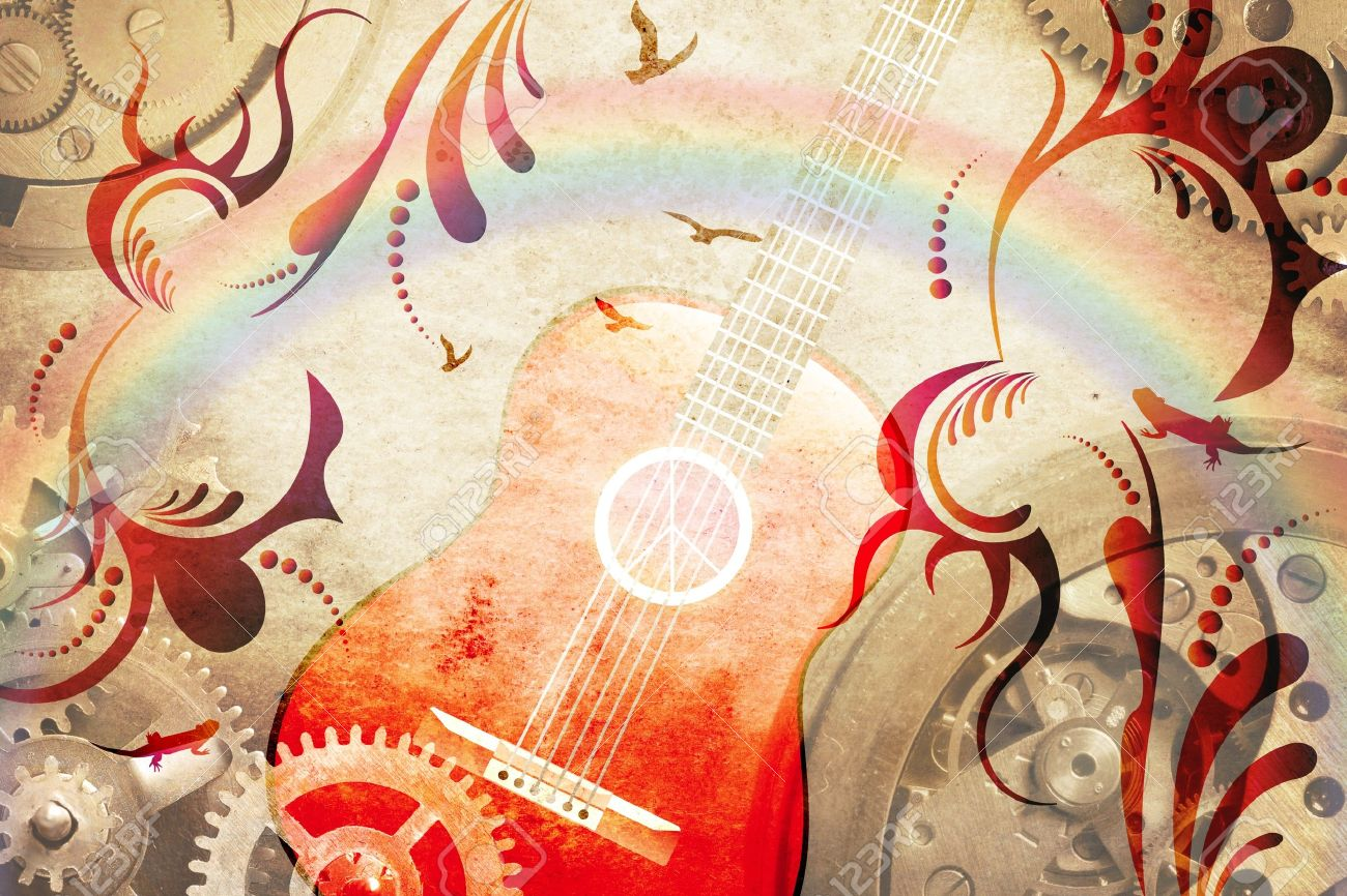 Abstract retro guitar background Stock Photo - 10486528