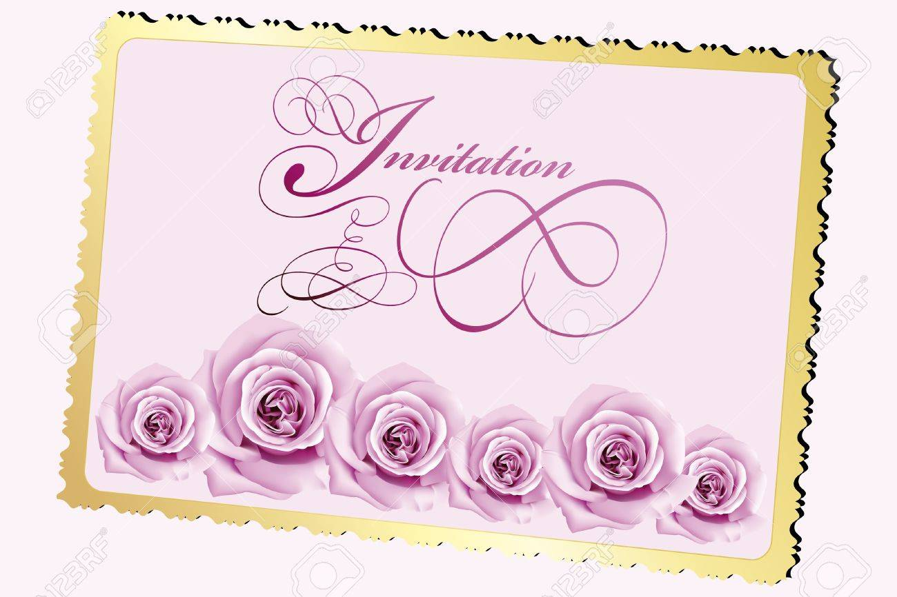 Invitation card with roses and calligraphic elements Stock Vector - 10513453