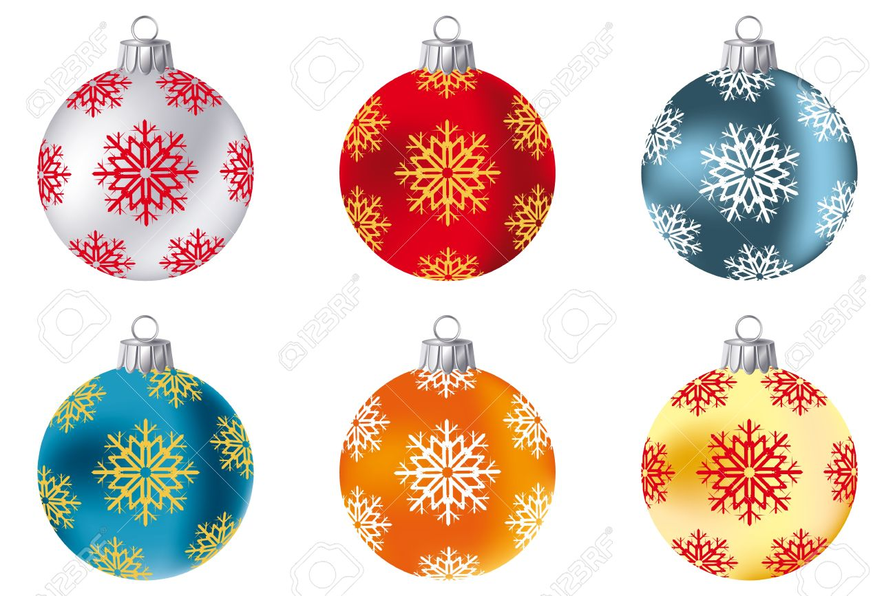 Collection of Christmas baubles in siler, red, blue, deep-blue, orange and gold - isolated on white Stock Vector - 11529962
