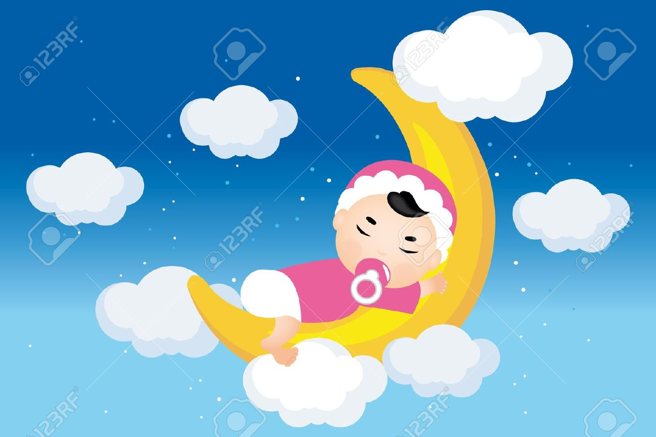 Dreaming baby on the moon with stars, clouds on nightly sky - Illustration Stock Vector - 12308025