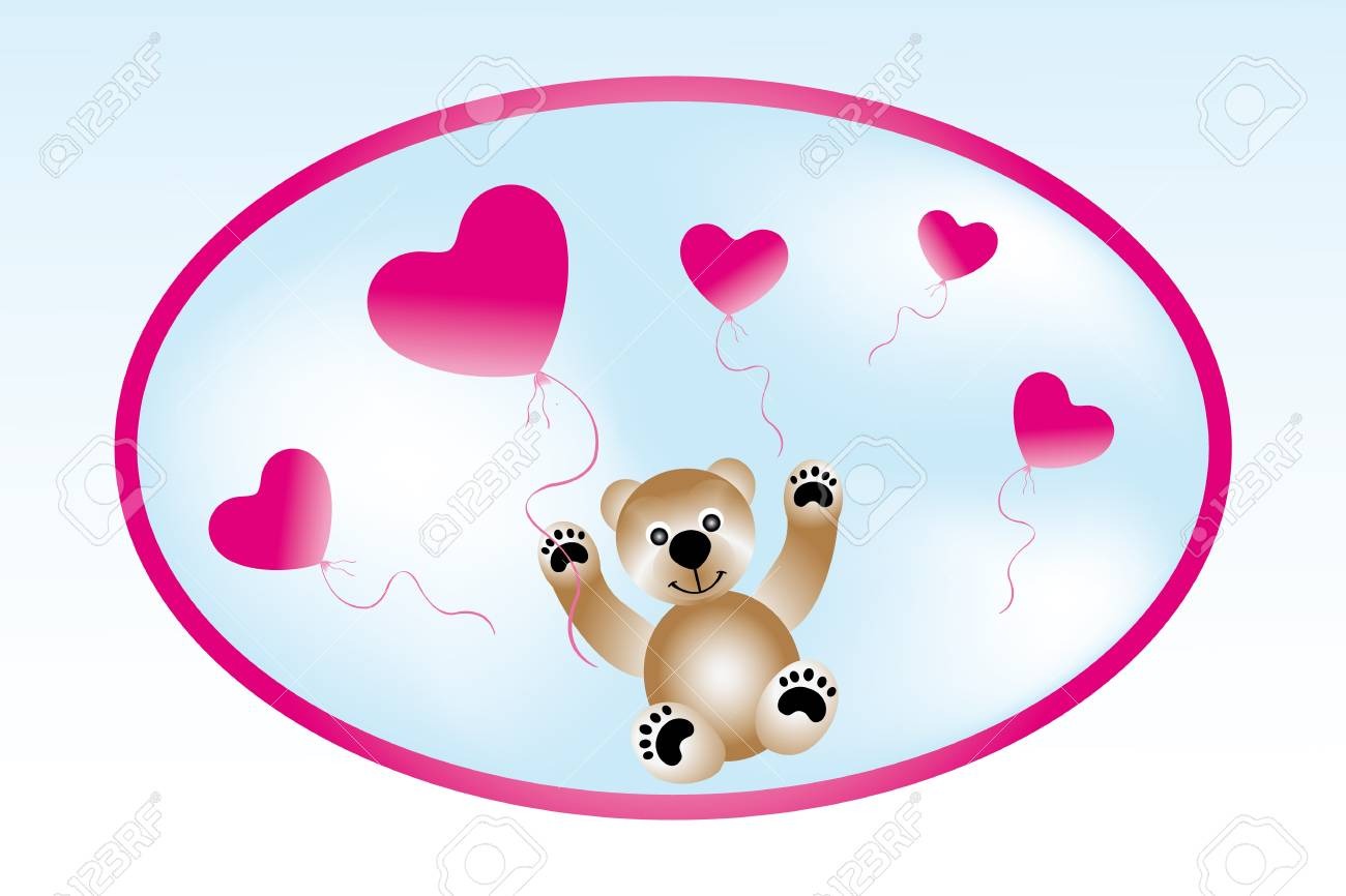 Teddy with heart-balloons - card template for Valentine Stock Vector - 13205243
