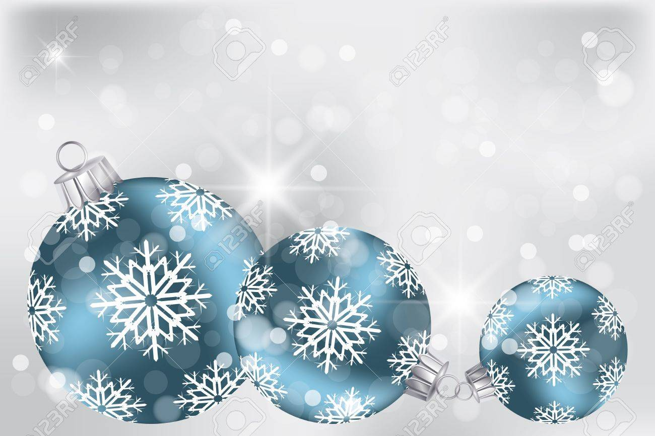 Blue Christmas balls on neutral background and place for text - fully editable eps 10 Vectors - 16556554