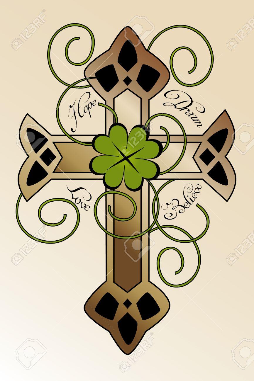La Conception De Tatouage Avec La Main Dessinee Croix Irlandaise