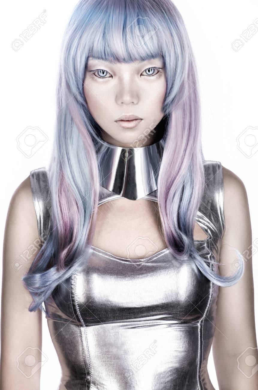 Alien Woman In Silver Futuristic Costume Stock Photo