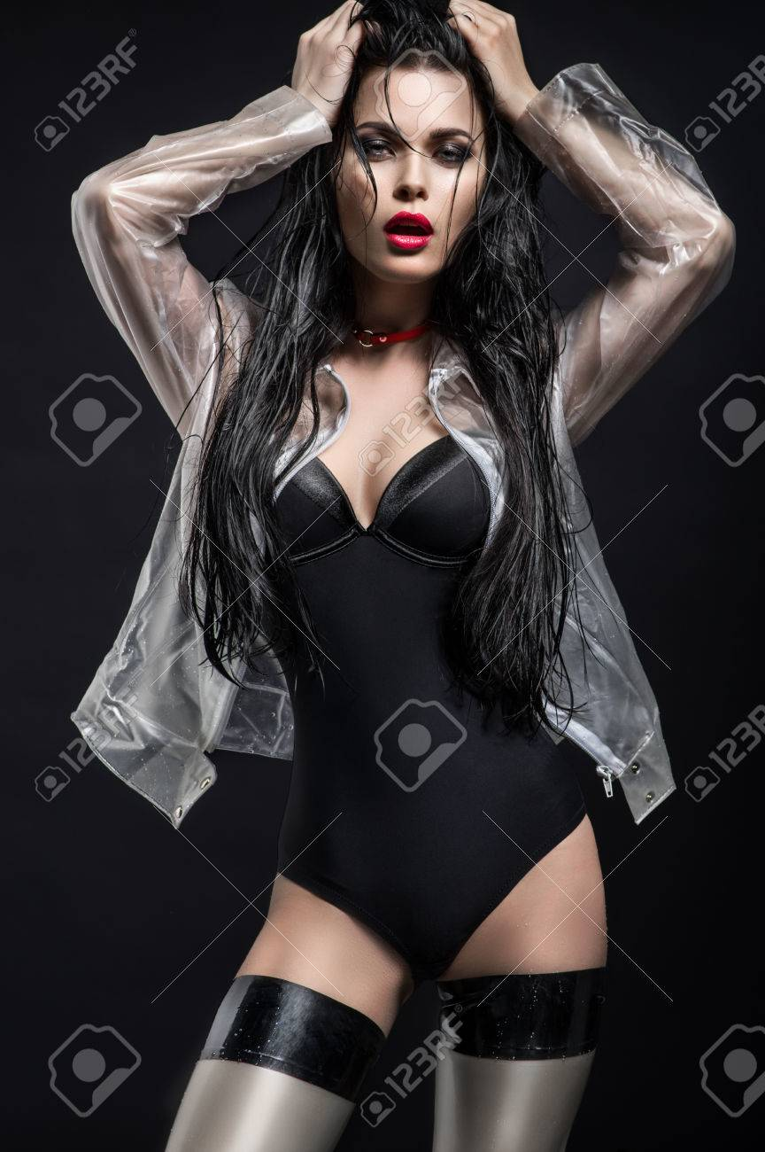 5b9d0a6d8 Young woman in dark lingerie Stock Photo - 83043018