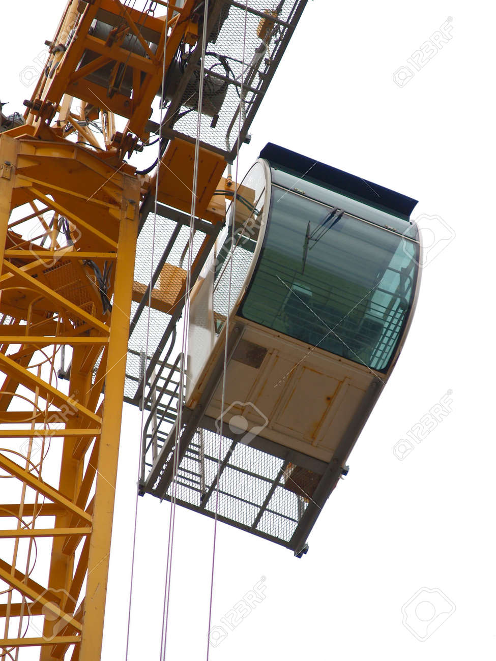Crane detail: cabin. Brussels European quarter. Almost isolated on white. - 235012