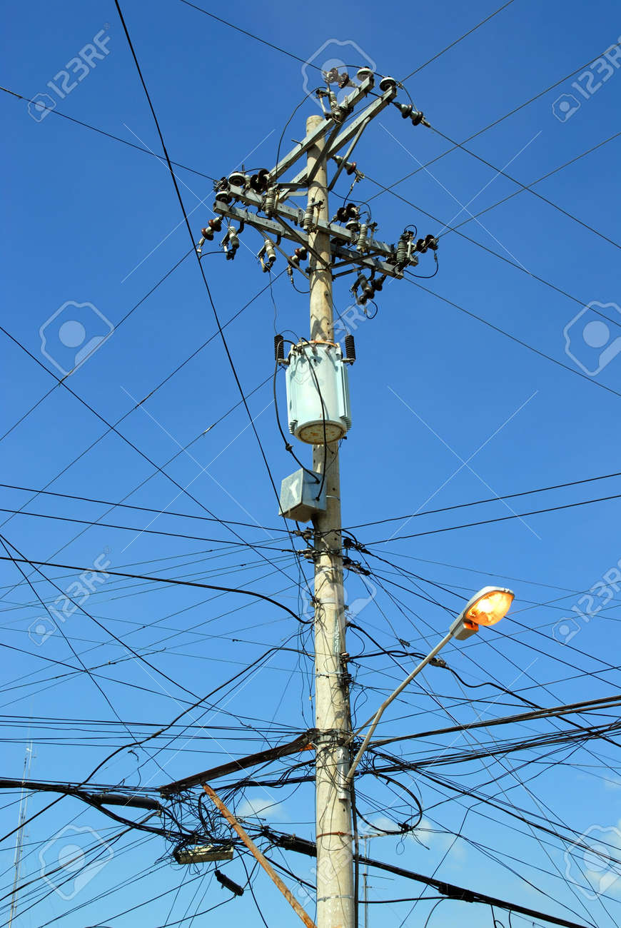 asian electricity pole with voltage transformer and power Power Pole Transformer Wiring asian electricity pole with voltage transformer and power distribution wires and lighted street lamp in full power pole transformer wiring