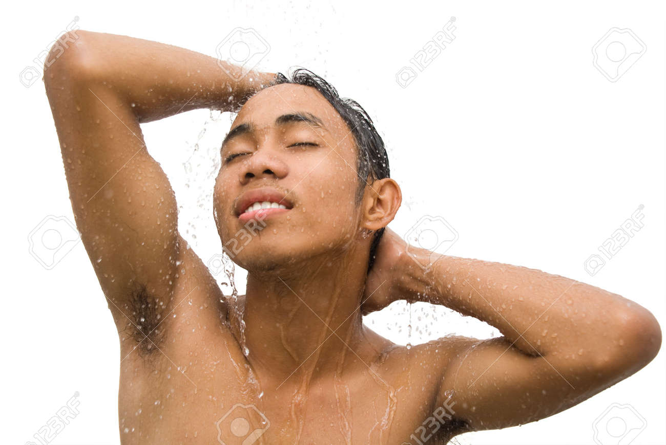 Asian men showering