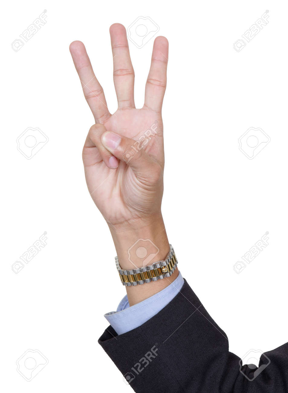 Three fingers pointing up, counting number 3, palm forward, thumb folded, with arm in business suit. Isolated over white with copy space. - 6398044