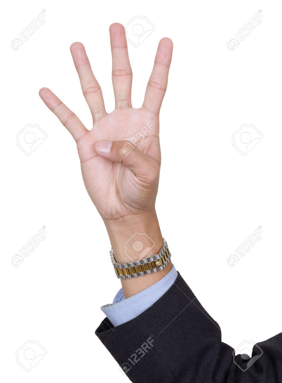 Four Finger Hand Count Number Four Isolated White Background Stock ...